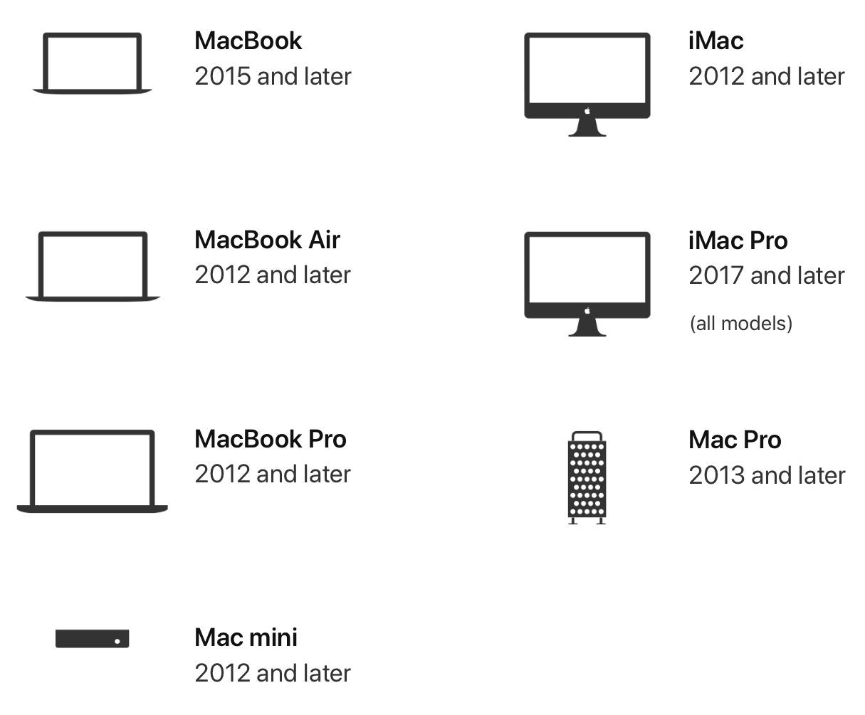 Lista de Macs compatibles con Catalina de MacOS
