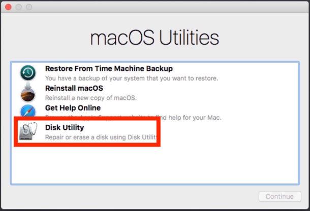 Las utilidades de MacOS eligen la Utilidad de Disco
