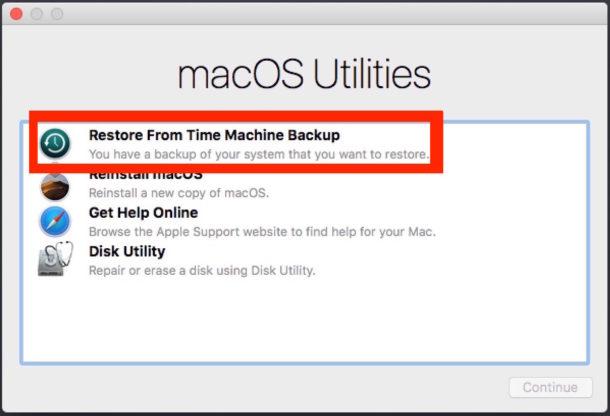 MacOS Utilities elige Time Machine