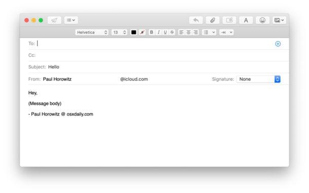 Éxito, nuevo correo electrónico redactar mensaje creado por Automator.