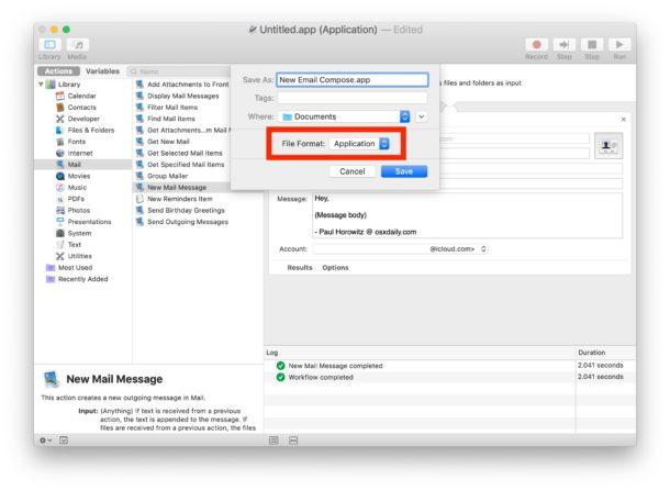 Guarde el nuevo acceso directo de composición de correo electrónico de Automator como aplicación