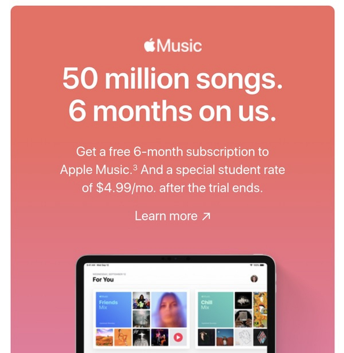 Apple Music ofrece una prueba gratuita de seis meses para estudiantes hasta finales de septiembre