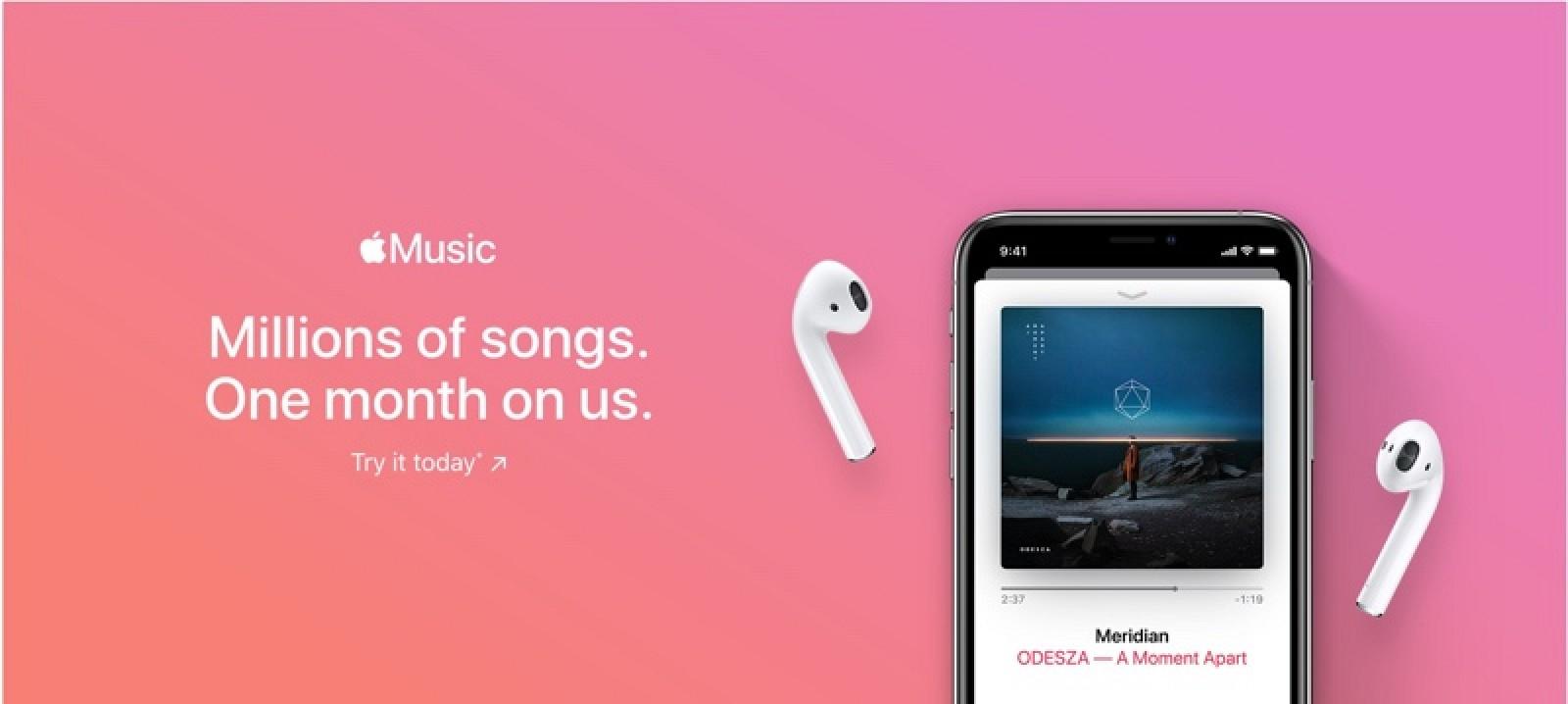 Apple podría estar cambiando la versión de prueba de Apple Music de tres meses a un mes