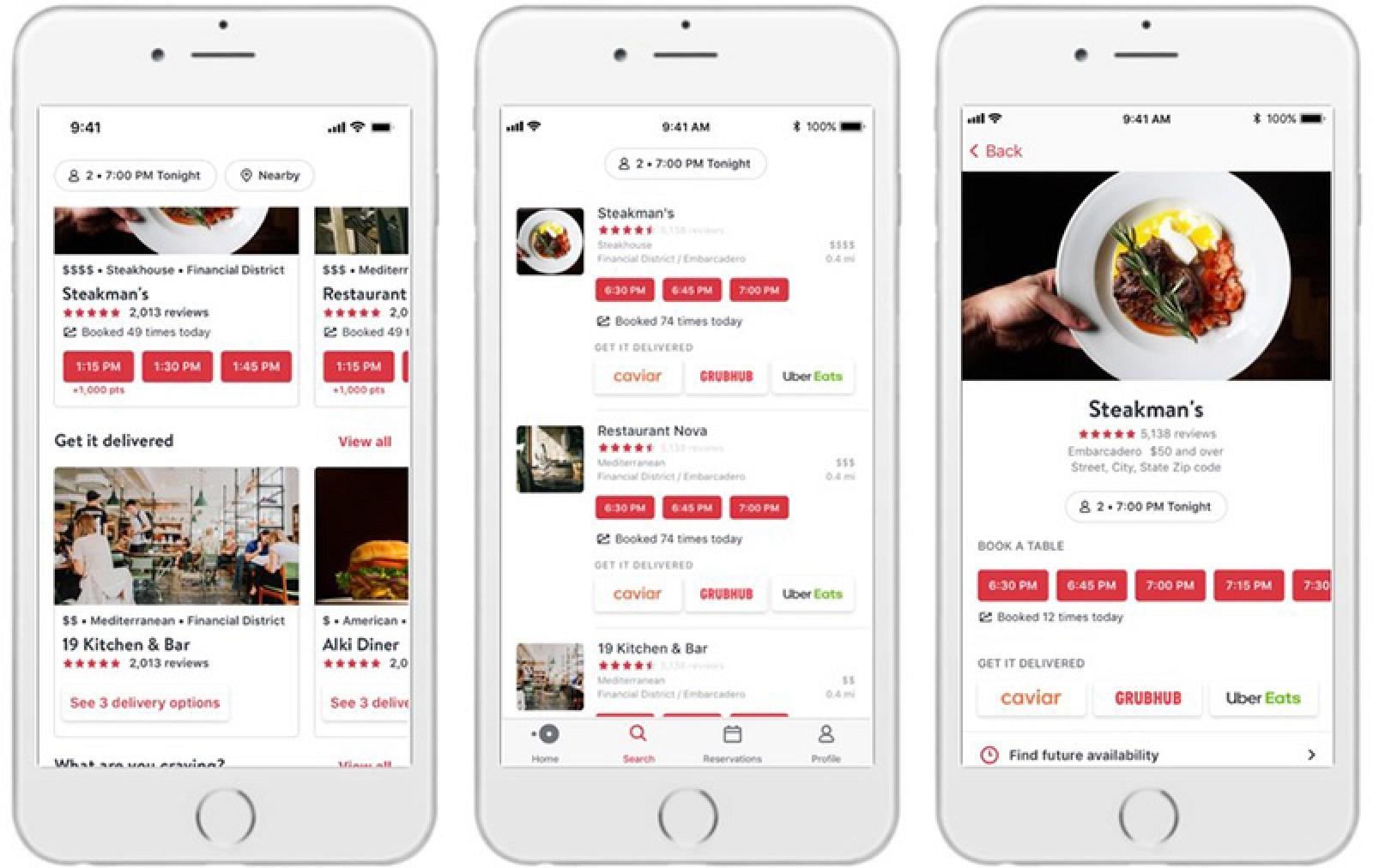OpenTable se asocia con Caviar, Grubhub y Uber Eats para ofrecer la entrega de más de 8,000 restaurantes