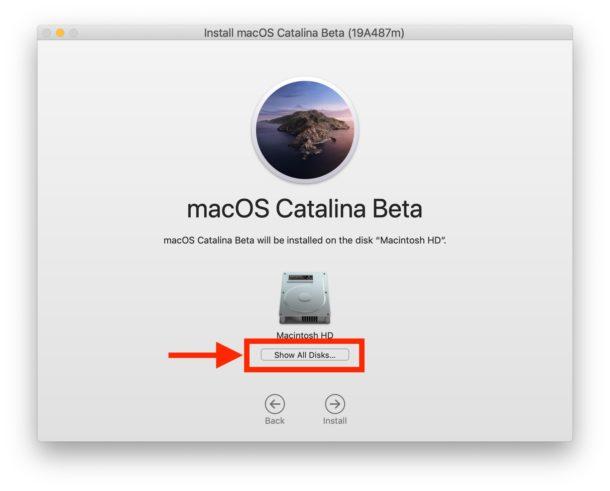 Elija Mostrar todos los discos para encontrar el otro volumen de disco para instalar Catalina en