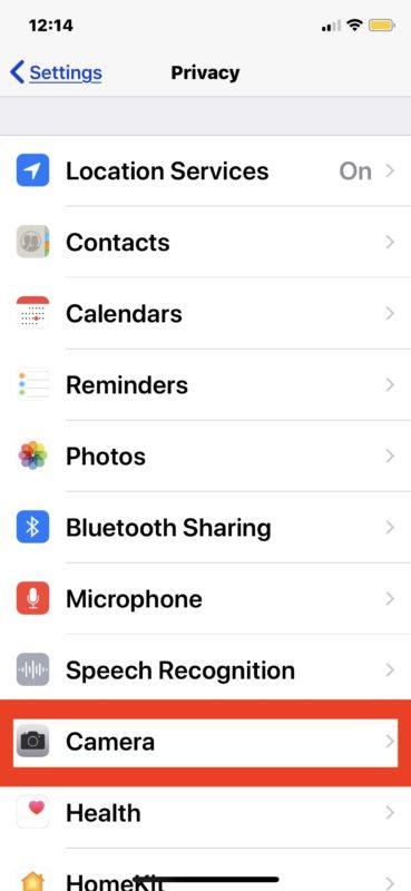Cómo deshabilitar el acceso a la cámara para aplicaciones en iPhone y iPad