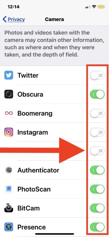 Cómo desactivar el acceso a la cámara para aplicaciones en iPhone y iPad