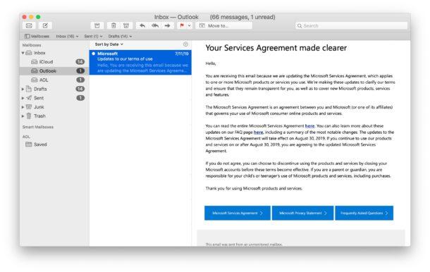 Marcar un correo electrónico como no leído con el método abreviado de teclado en la aplicación Mac Mail