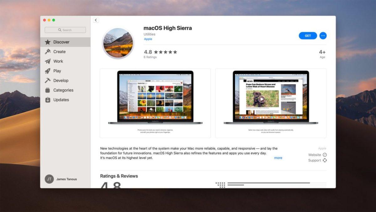 Cómo descargar macOS High Sierra desde macOS Mojave