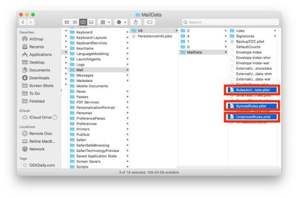 Deshabilitar manualmente las reglas de correo en la aplicación Mac Mail