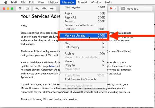 Cómo marcar como no leído en Mail para Mac