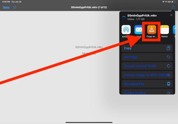 Elige abrir video MKV en VLC en iPad para verlo