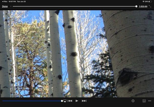 Viendo un video MKV en iPad desde la aplicación Files