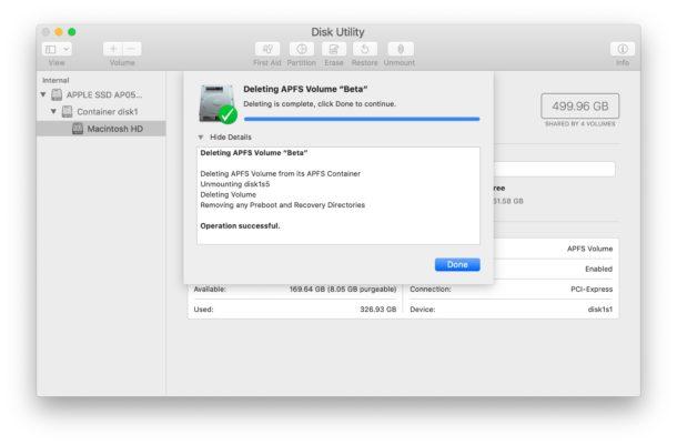 Terminado de eliminar el volumen APFS en Mac