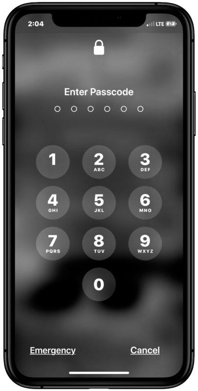 La pantalla de bloqueo de contraseña en iPhone o iPad