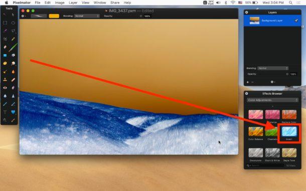 Invierta la imagen en Mac con efecto Invertir Pixelmator