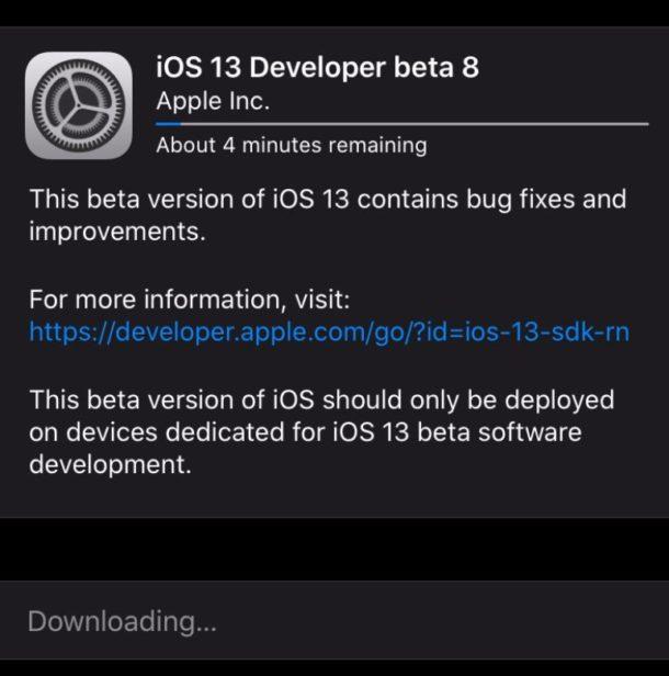 Descarga de iOS 13 para desarrolladores beta 8