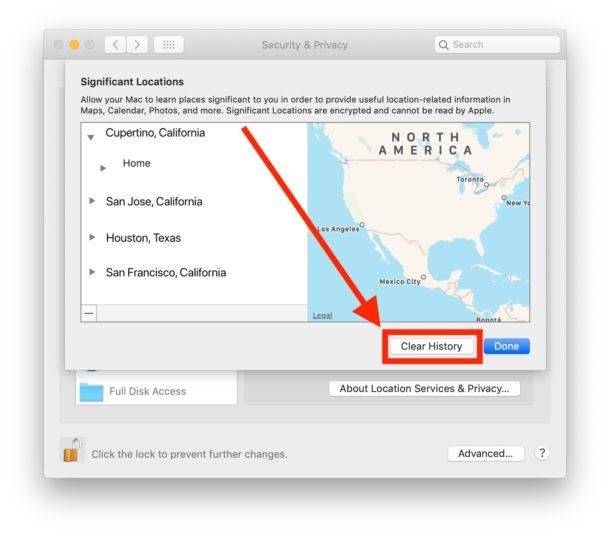 Cómo borrar y deshabilitar ubicaciones significativas en Mac