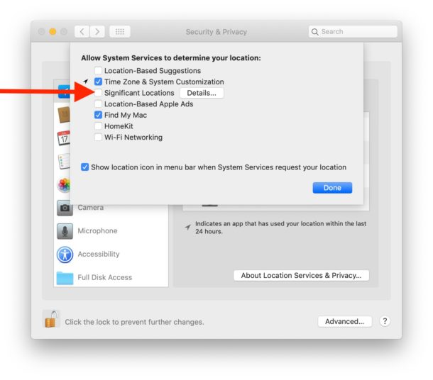 Cómo deshabilitar ubicaciones significativas en Mac
