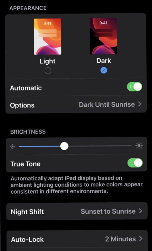 Modo oscuro en iOS 13