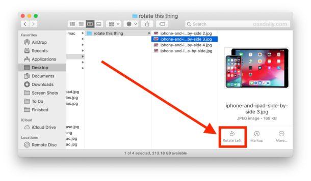 Cómo rotar una imagen directamente en Mac Finder
