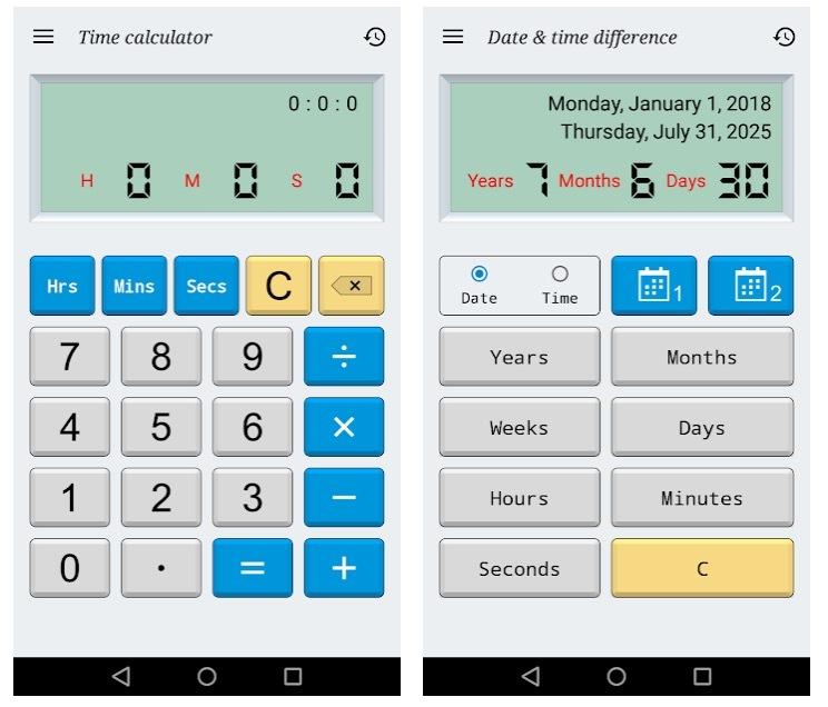 Fecha y hora de la calculadora (gratis)