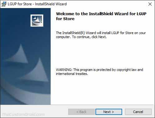 Haga clic en 'Siguiente' en el instalador de herramientas LGUP