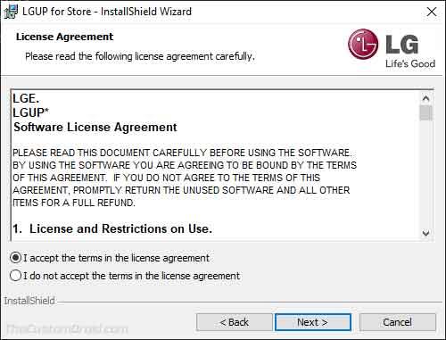 Acepte los términos de licencia en la ventana del instalador de herramientas LGUP