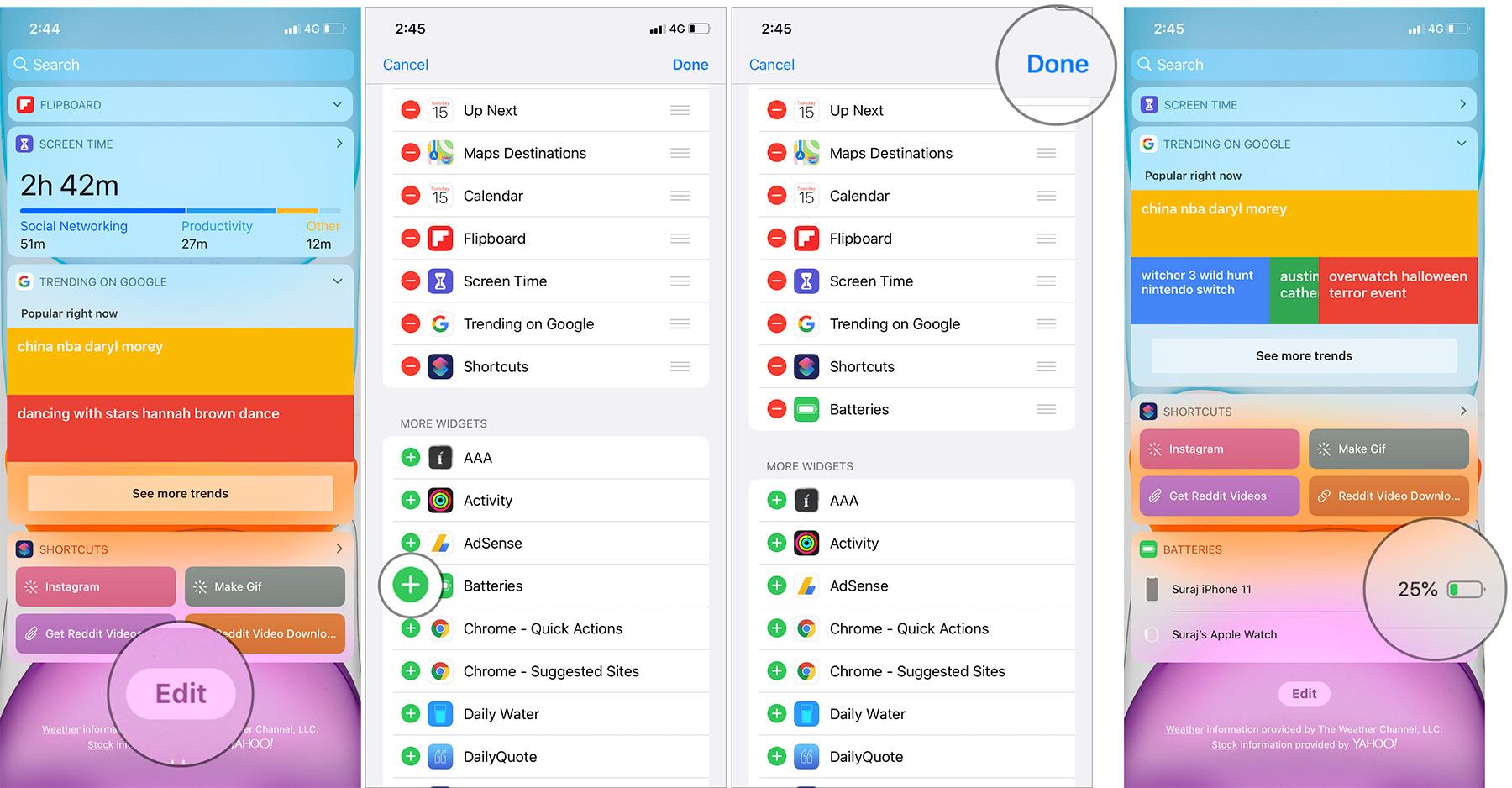 Agregue el widget Baterías a la vista Hoy en iPhone 11 Pro Max