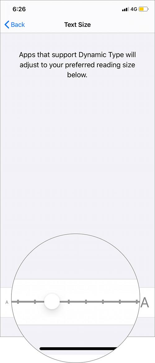 Ajuste el tamaño de fuente moviendo el control deslizante para aumentar el tamaño de Biggerfont en iPhone