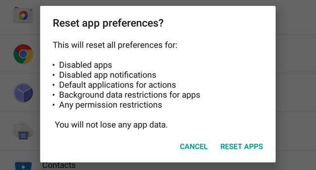 Ripristina le preferenze dell'app