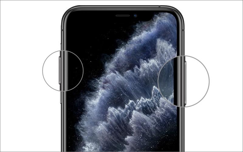 Simplemente presione el botón lateral y el botón para subir el volumen a la vez para tomar la captura de pantalla en el iPhone 11 Pro Max
