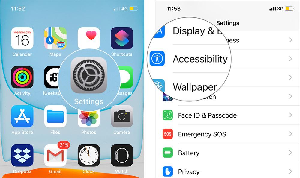 Inicie la aplicación de configuración en el iPhone 11 y seleccione Accesibilidad
