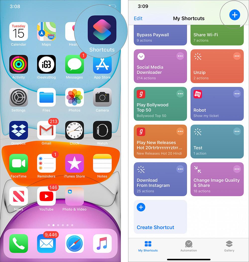 Inicie la aplicación de accesos directos y toque el ícono más en iPhone