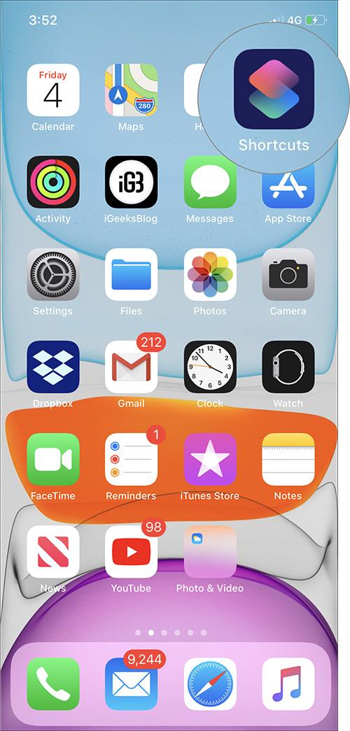 Inicie la aplicación de accesos directos en iPhone con iOS 13