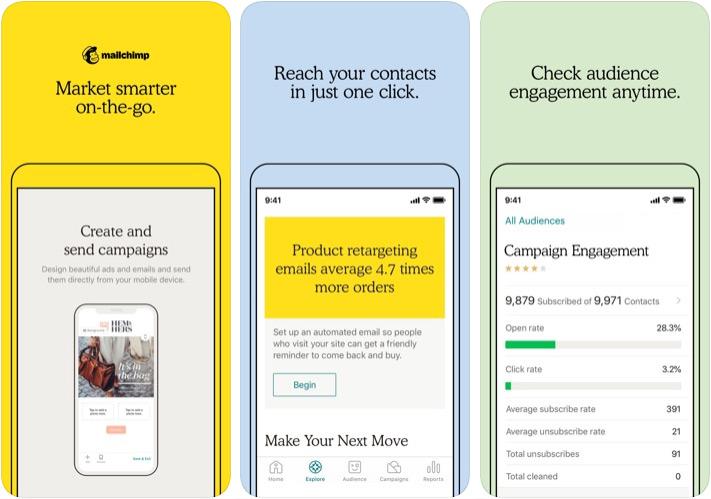 Aplicación MailChimp Marketer para iPhone y iPad
