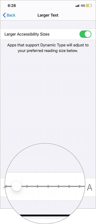 Mueva el control deslizante hacia la derecha para agrandar el texto en iPhone