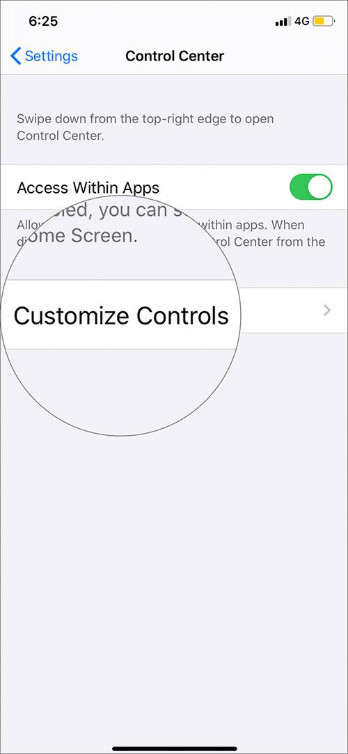 Abrir controles personalizados en iPhone