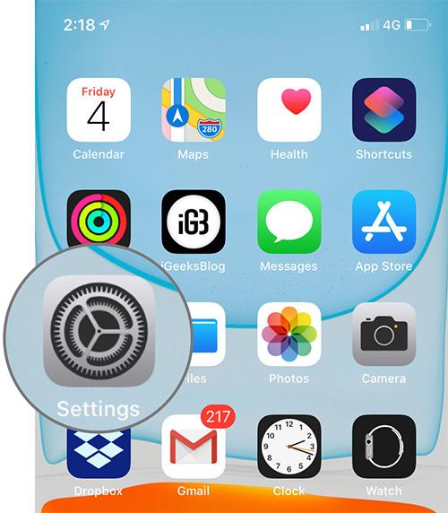 Abra la aplicación de configuración en iPhone