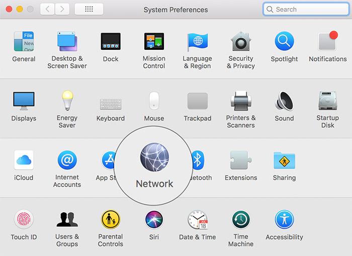 Abra Preferencias del sistema y haga clic en Red en Mac