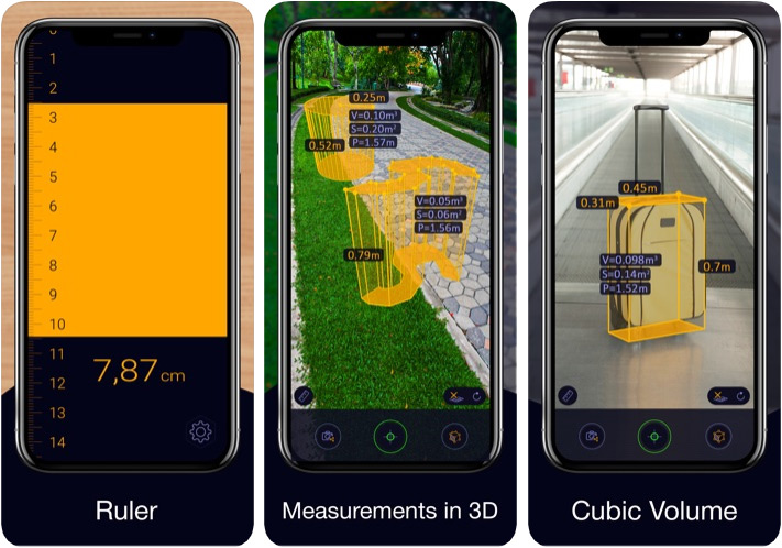 Aplicación de regla Aplicación de medición de distancia de cinta métrica AR para iPhone y iPad