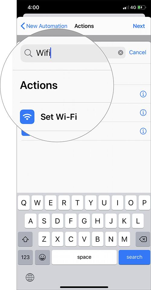 Busque WiFi y elija Establecer Wi-Fi en el acceso directo de automatización de iOS 13