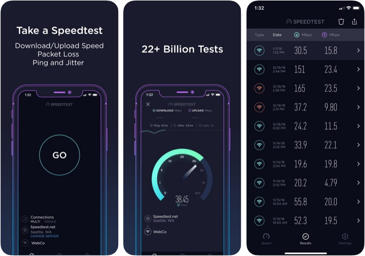 Aplicación Speedtest by Ookla Wi-Fi Analyzer para iPhone y iPad
