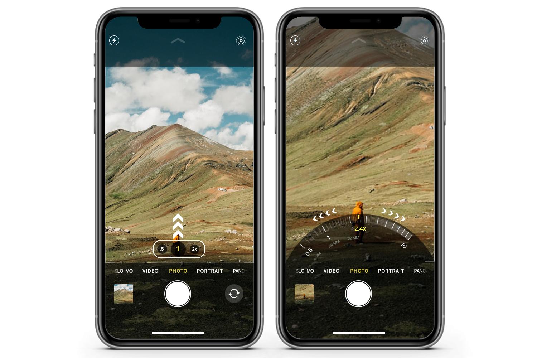 Switch entre ultra gran angular, gran angular y teleobjetivo en iPhone 11 Pro con rueda de zoom radial