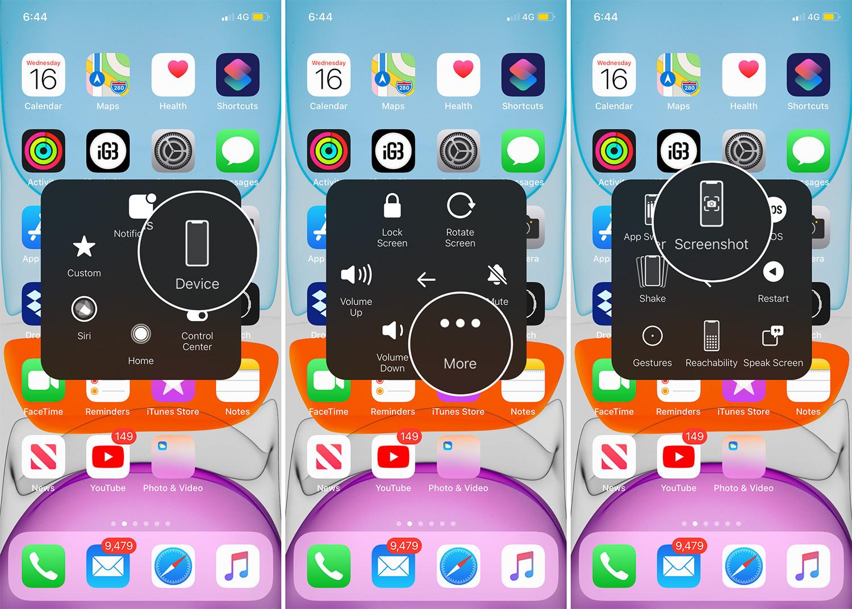 Tomar una captura de pantalla con AssistiveTouch en iPhone 11 Pro Max