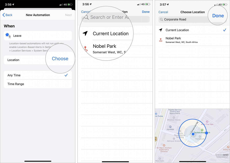 Toque Elegir y seleccionar ubicación actual en el acceso directo de automatización de iOS 13