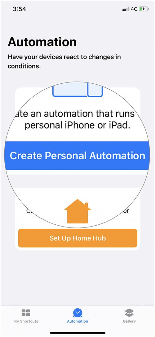 Toque Crear automatización personal en la aplicación de accesos directos iOS 13