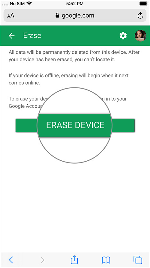 Toque el botón Borrar dispositivo y elimine datos de forma remota del dispositivo Android en iPhone