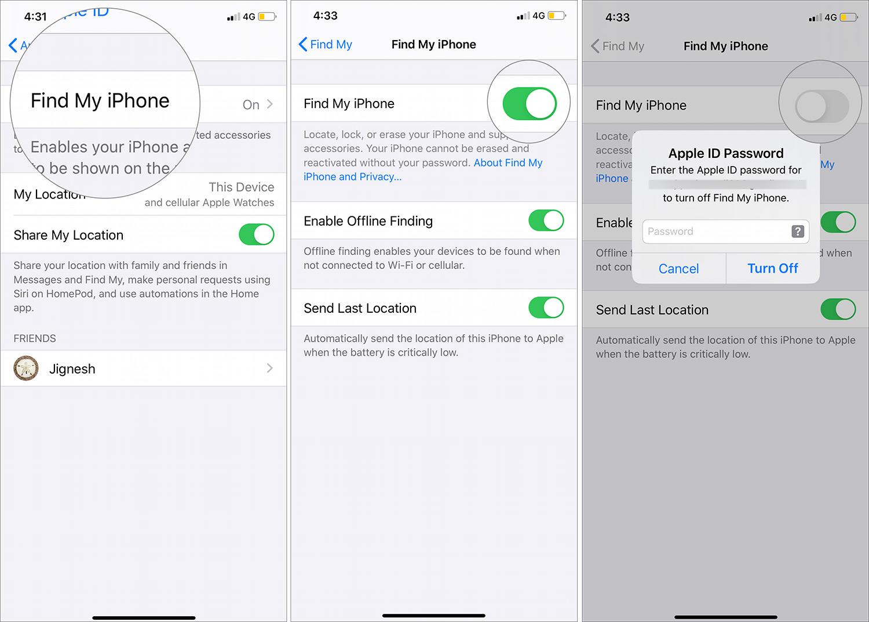 Toque Buscar mi iPhone, luego desactive para desactivar Buscar mi iPhone en iOS 13