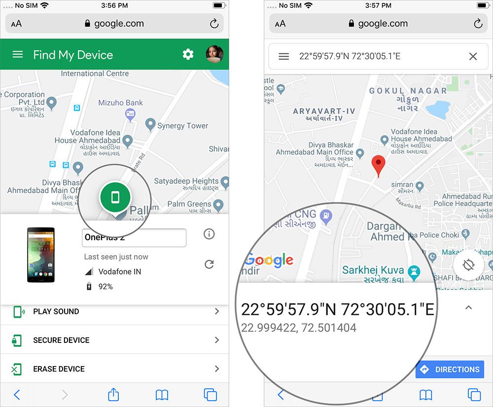 Toque la etiqueta de ubicación para mostrar las coordenadas del dispositivo en el iPhone